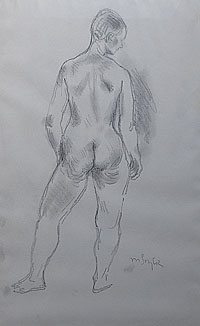 Standing Female Nude, Rear View