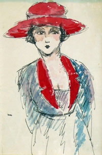Young Woman Wearing a Red Hat