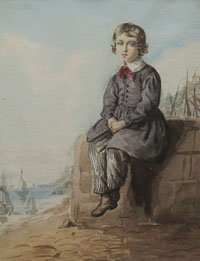 A Young Boy Seated by the Sea