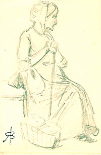A Seated Woman with Cane and Basket