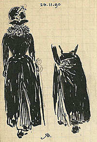 Studies of a Woman in a Black Dress, Rear View