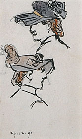 Studies of Two Women Wearing Hats