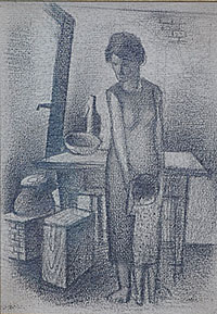 Interior with Standing Woman & Child