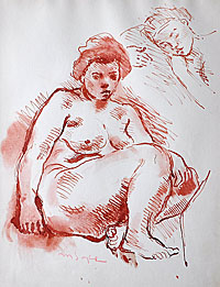 Seated Female Nude; Head of a Sleeping Woman