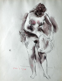 Female Nude, Holding a Towel