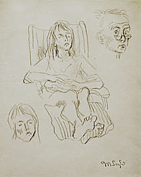 Girl in a Deck Chair and Self Portrait