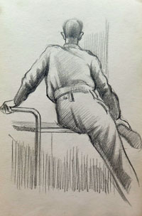 Seated Soldier, Rear View