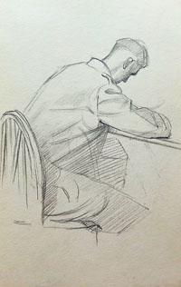Soldier Seated at a Desk, Writing