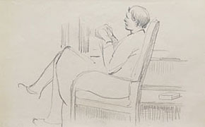 A Seated Woman, Knitting