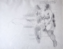 Seated Female Nude with Stockings