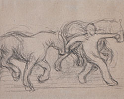 A Study of Two Horses and the Figure of a Man