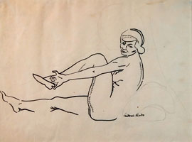 Seated Female Nude, Putting on her Slipper