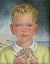 Young Boy by the Sea, Holding a Horsehoe Crab