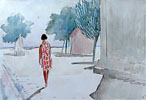 A Woman Walking Away